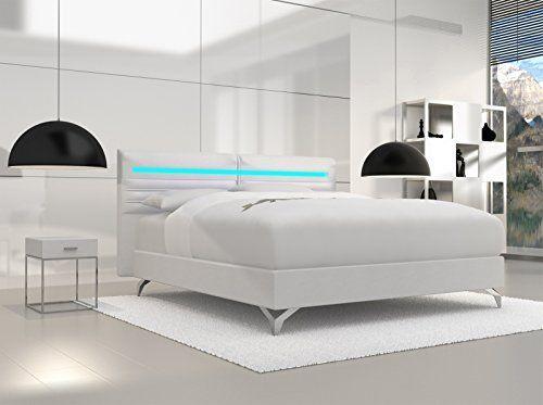 Produktbild SAM® Design Boxspringbett Almeria Grenada weiß mit Bonellfederkern in Massiv-Holz-Rahmen,Chrom-Füßen und LED-Beleuchtung 140 x 200 cm
