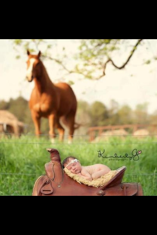 Newborn pic with horse....one of my favorites <3 <3 <3