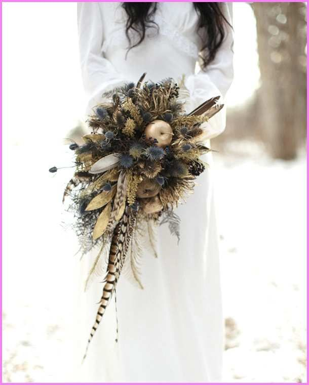 Pheasant Feather Bouquet Luxury 20 Wedding Bouquets With Feather