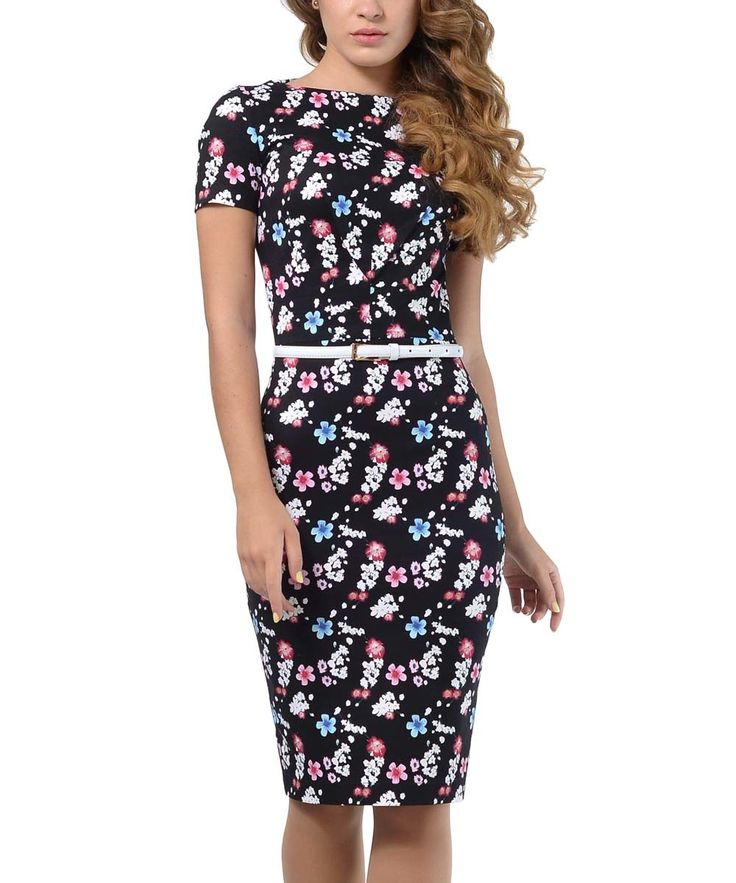 Look at this Lemon Black & Pink Floral Short-Sleeve Dress - Plus Too on #zulily today!
