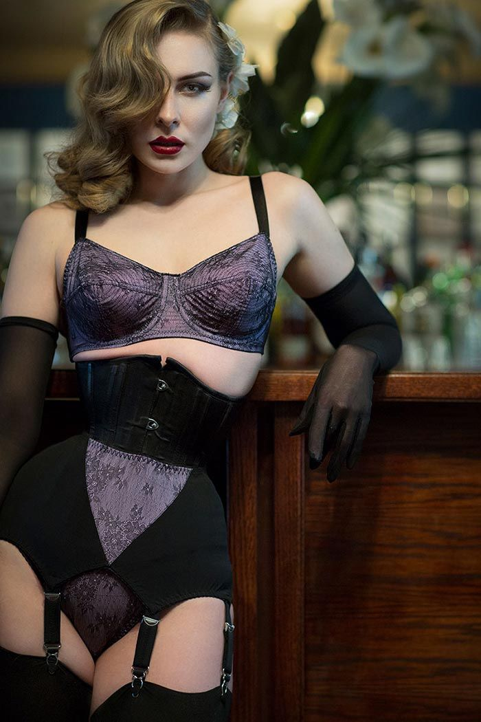 Vintage lingerie with grey seamed stockings | HELLCAT ...
