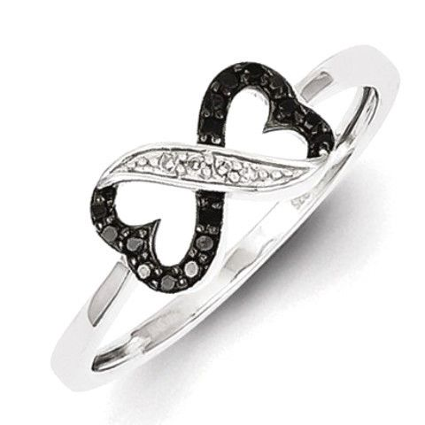 Sterling Silver Black And White Diamond Double Heart Ring