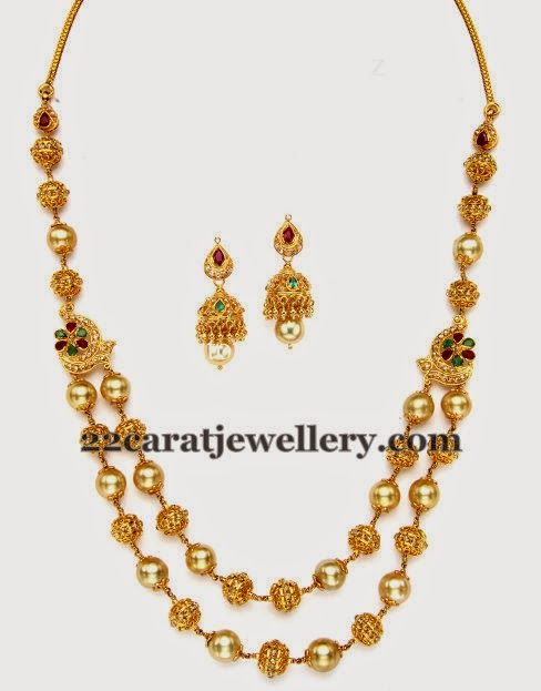 Jewellery Designs: South Sea Pearls Chain With Jhumkas