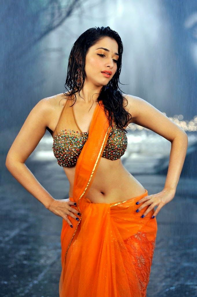 Tamanna Hot Navel Pics In Yellow Saree Tamil Actress -3578