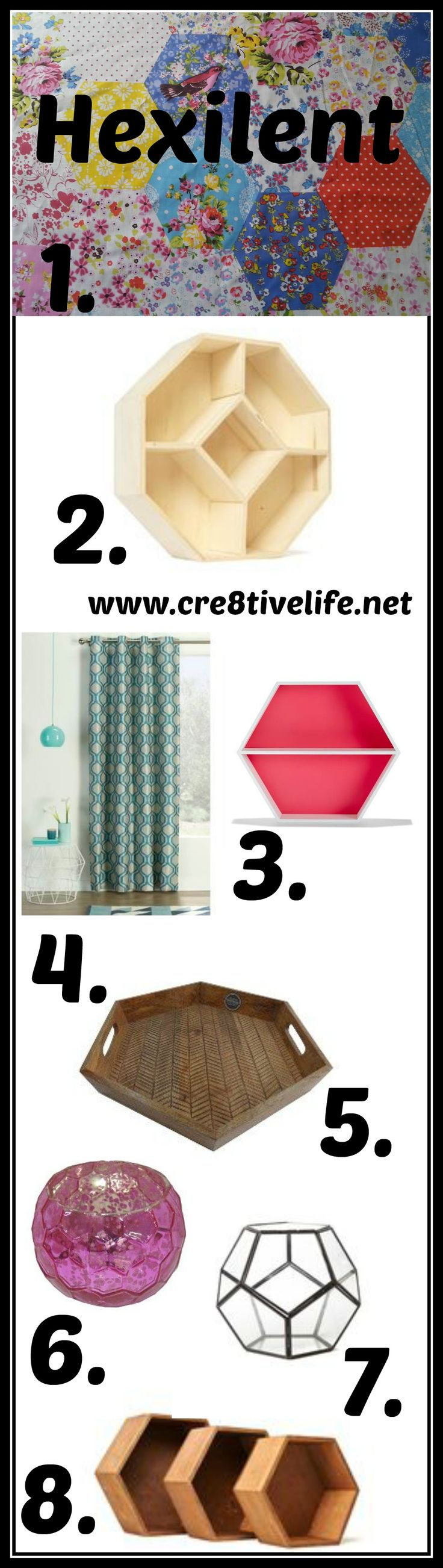 1. Country  garden  fabric  from  Spotlight   2. Large Hexe Wall Storage from Typo 3. Hexagon Shadow Box from Kmart   4. Belmondo Hexagon Eyelet Curtain  from  Spotlight,  available in lime, aqua  &  charcoal   5. Threshold™Burned Wood Tray from  Target 6. Mercury Glass Votive Holder -Threshold™ from  Target, available  in  aqua, pink  &  blue 7. Copper hexe terrarium from Typo,  available in black and copper 8.  Mini Hexe Shadow Box Set 3 from Typo