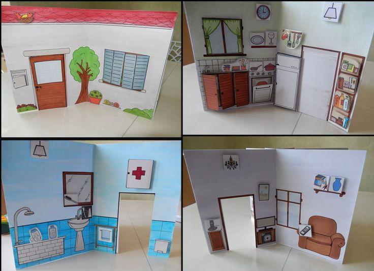 Casa en 3D con pictogramas de quita y pon con velcro