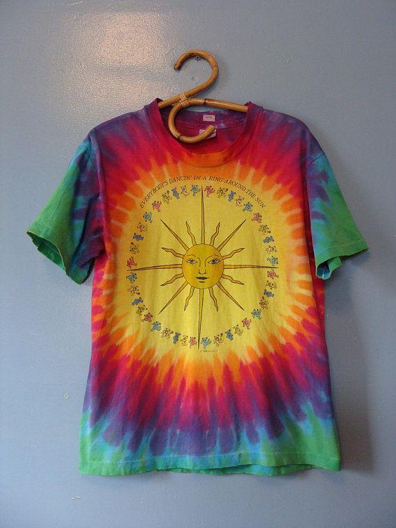 fbd7fca8748 Vintage Grateful Dead T Shirt Rainbow Tie Dye 80 s Everybody s Dancin  in a  Ring Around The Sun Dancing Bears Hippie Boho Festival Sun 1988