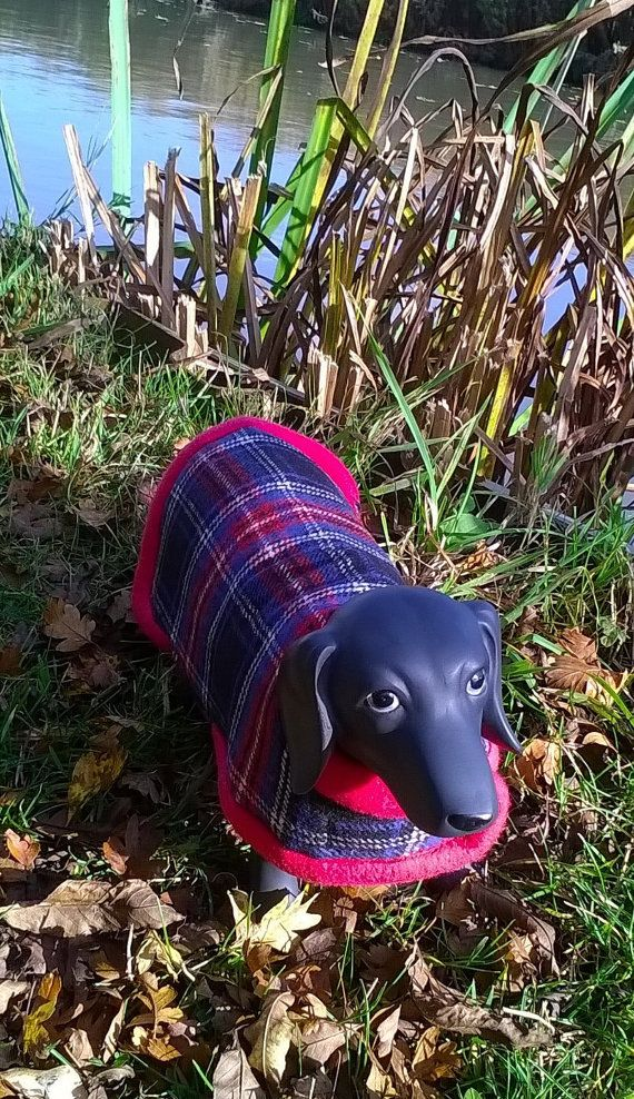 Red plaid Tartan reversible dog coat warm by stitchmilitz on Etsy