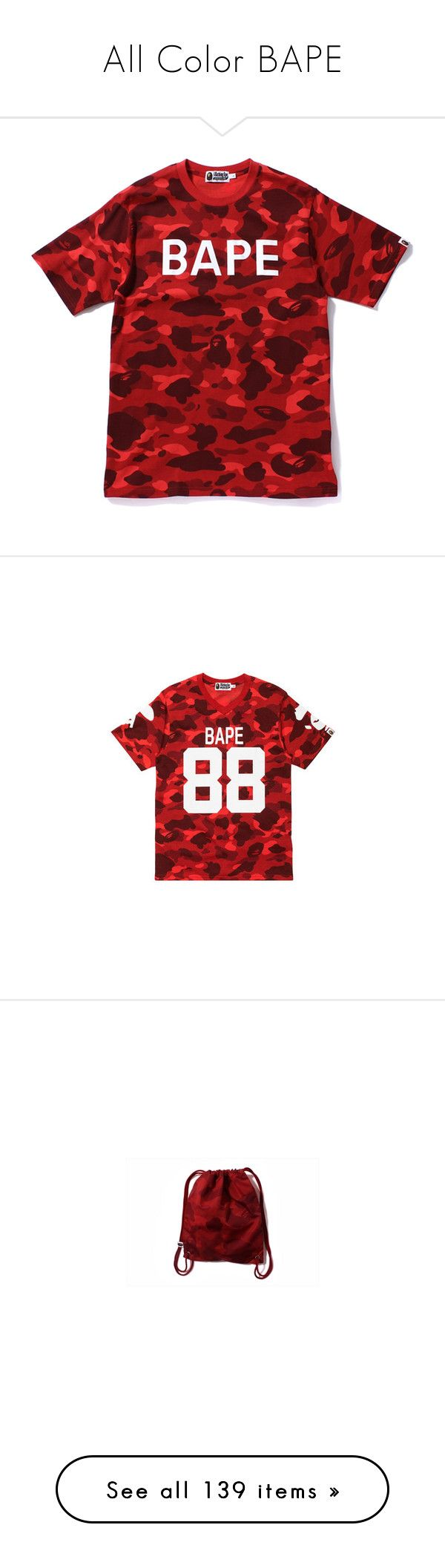 """""""All Color BAPE"""" by xxxfasiontrendsxxx on Polyvore featuring tops, t-shirts, shirts, items, t shirt, camo t shirt, tee-shirt, red camo shirt, camoflauge shirt and camo tees"""