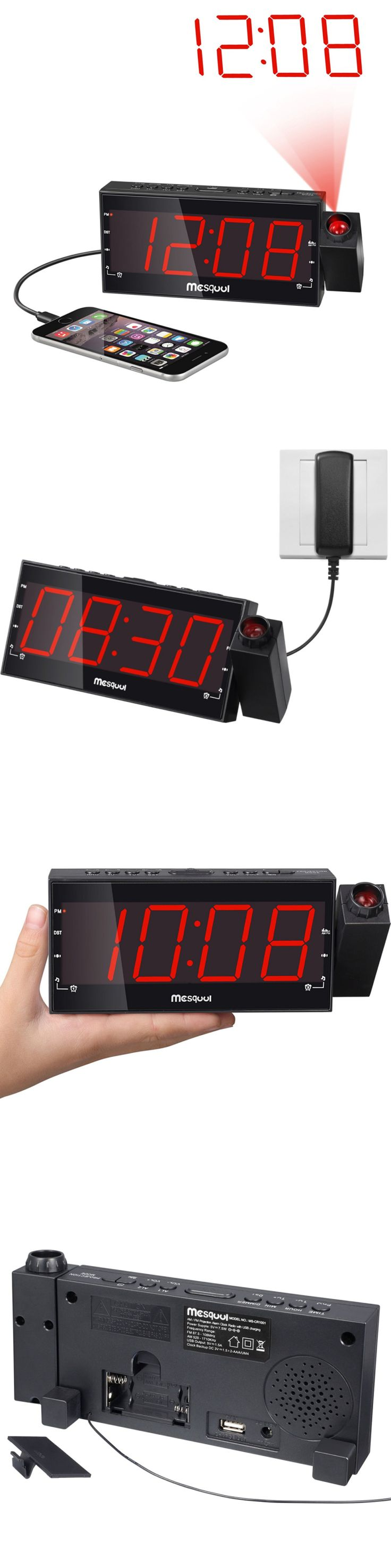 Digital Clocks and Clock Radios: Mesqool Am Fm Digital Dimmable Projection Alarm Clock Radio With 1.8 Led Displa -> BUY IT NOW ONLY: $30.7 on eBay!