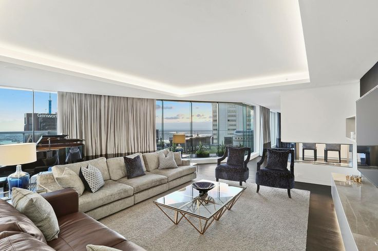 North Sydney Penthouse Living Room, designed by Jodie Carter Design. Photo by Savills Real Estate, Double Bay