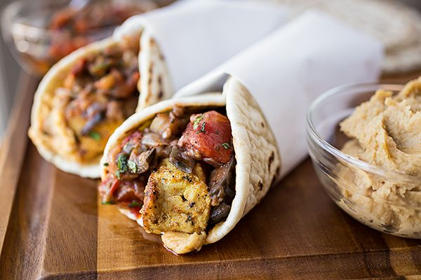 Moroccan Chicken Wrap with Grilled Eggplant, Tomato and Onion Chutney, with Spicy Hummus Spread and Fresh Mint