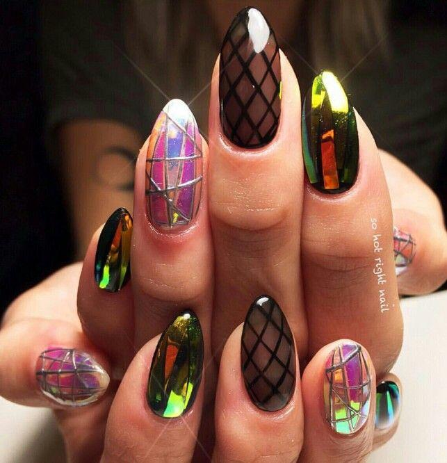 Fishnet & chrome nail art, mylar nails