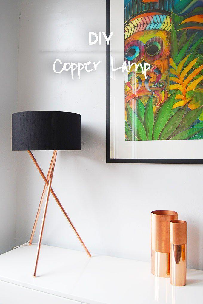 Pés de abajur pintados em cobre com cúpula branca