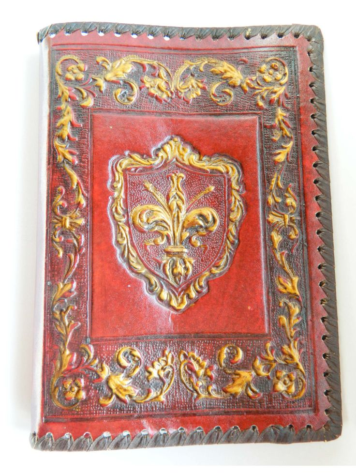 Vintage Hand Tooled Leather Book Cover Italy 1970s by RetroBackyardSales on Etsy