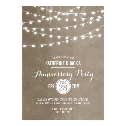 Backyard Wedding Invitations Summer String Lights Anniversary Party Invitation