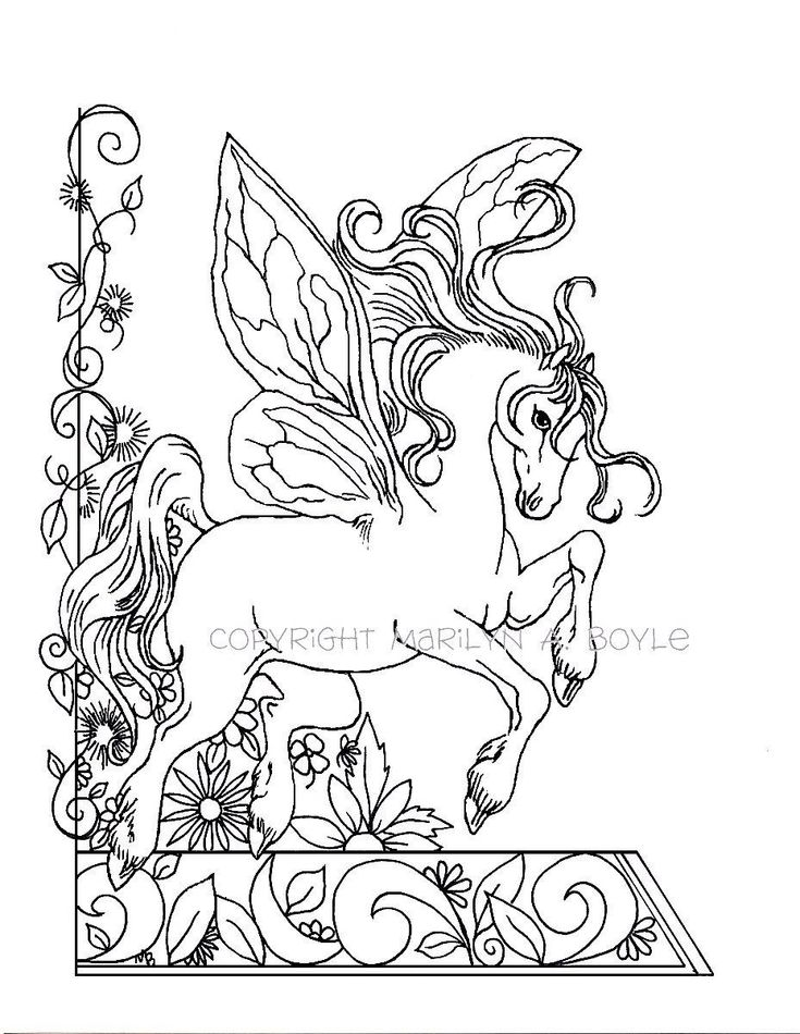 ADULT COLORING PAGE; fantasy, fairy horse, flowers, garden ...