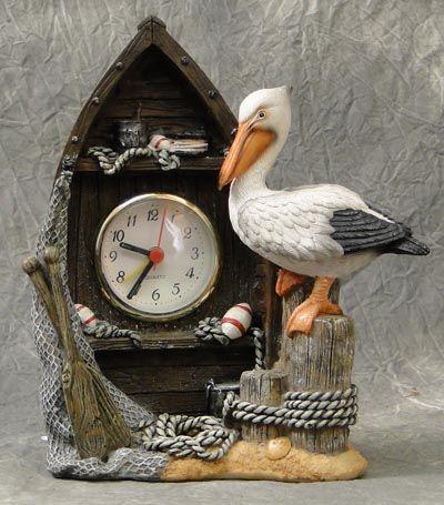 Boat and Pelican  Mantel Clock