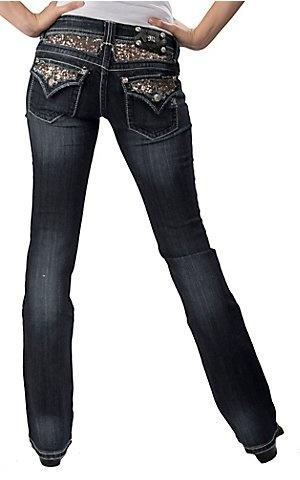 Miss Me Dark Wash Gold Sequins Insert Flap Pocket Boot Cut Jean $109