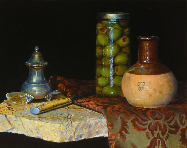 """Today's painting for you:  """"Still Life with Olive Jar"""", Oil on Linen, 8x10 inches, 2013 (sold)  The most engaging part of working on this painting was the stone slab, hands down.  Capturing the veins of different colors, and especially the rough textures of the broken face, made for a whole day of intricate and absorbing work."""