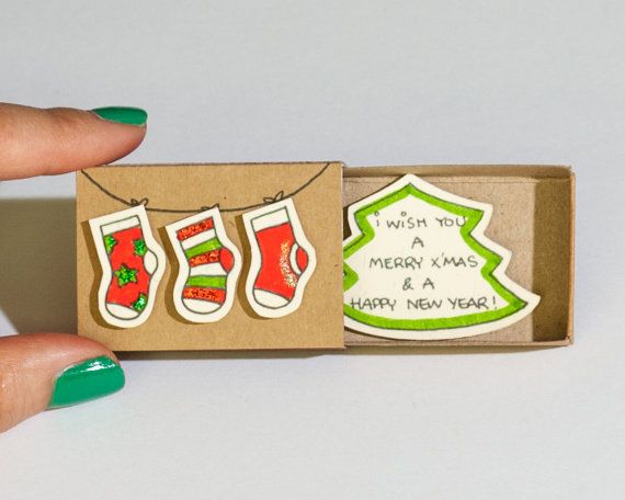 Christmas Card/ Christmas Stocking Card/ Holiday Card Set/ New Year Card Matchbox/ Small Gift box/ Merry Christmas and Happy New Year