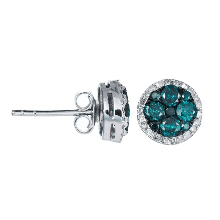 Blue Diamond Small Round Earrings in White Gold