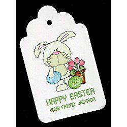 Easter Gift Tags, Bunny with Eggs and Tulips, Personalized Set of 25