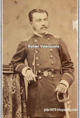 """Rafael Valenzuela Dávila. (1853-?). Iniciada la guerra ingresó al Regimiento de Línea """"Santiago"""" con el grado de cabo, participa en el combate de los Angeles, Tacna, Chorrillos y Miraflores. Obtuvo una medalla de plata, con dos barras. Ascendió a Sargento 1° en 1881. Estuvo presente en las expediciones a Canta y Junín, participando en los combates de Pucará y Marcavalle.  Ascendió a Subteniente el 30 de octubre de 1882, y el 13 de marzo de 1883 se acogió a retiro del Ejército."""