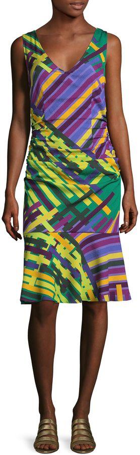 Tracy Reese Women's Silk Print Flounced Tank Dress
