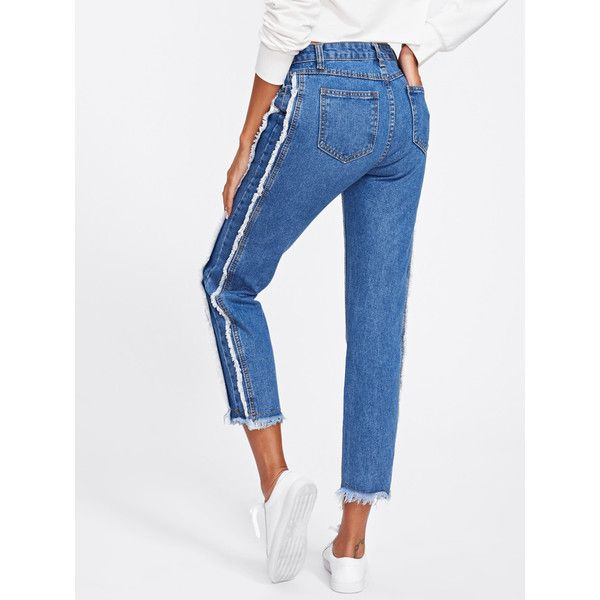 Frayed Trim Tapered Jeans ($13) ❤ liked on Polyvore featuring jeans, tapered jeans, frayed-hem jeans, tapered fit jeans, tapered cut jeans and whiskered jeans