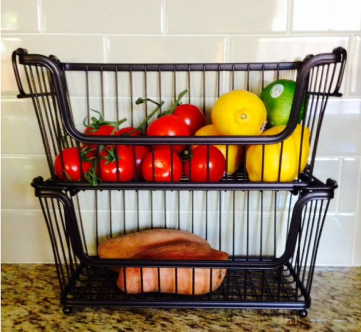 Currently loving countertop fruit veg storage for Kitchen countertop storage solutions