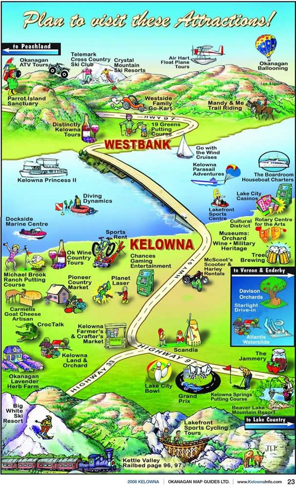 Casa Loma Lakeshore Resort Attractions Map, Kelowna Attractions