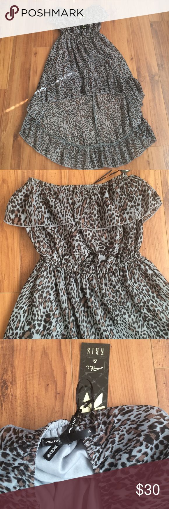 Beautiful brand new cheetah print high low dress S I bought this beautiful high low dress and never got a chance to wear it. It is a blue brown cheetah print and strapless. Size is small or S. Dresses High Low
