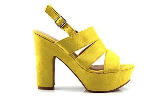 Oferta: 19.99€. Comprar Ofertas de Modelisa - Zapatos De Tacon Ancho Mujer (37, Amarillo) barato. ¡Mira las ofertas!