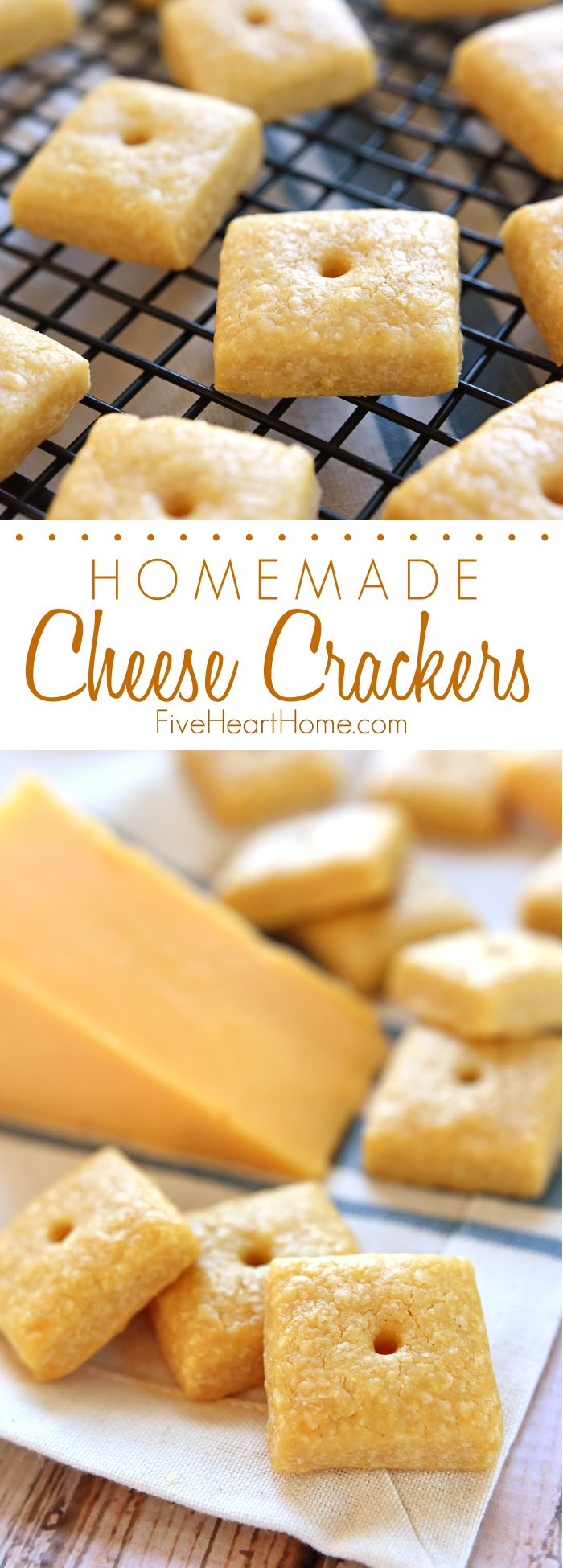 Homemade Cheese Crackers ~ tasty and all-natural, these savory crackers are not only kid approved, but you won't believe how easy they are to make! | FiveHeartHome.com