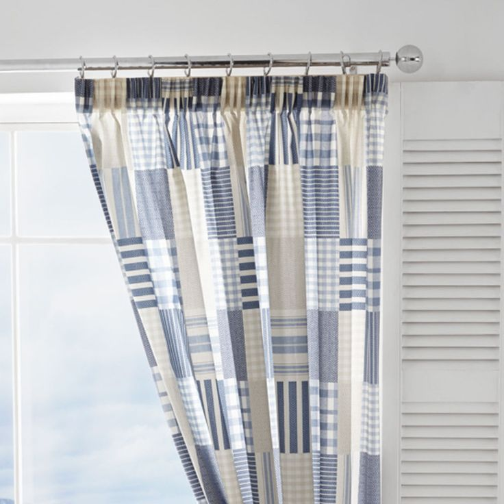 CORNWALL BLUE CREAM 66 X 72 PATCHWORK LINED PENCIL PLEAT CURTAINS #ZNEP *CUR* #Patchwork