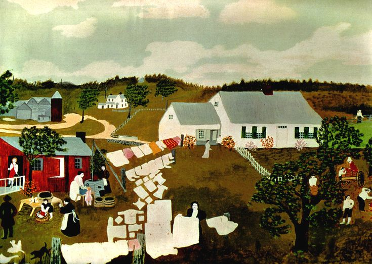 Hoosick Falls, New York, in Winter ~ Grandma Moses___family and home life
