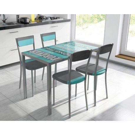 Conjunto de mesa con cuatro sillas para salón comedor o cocina de mesa metálica con tapa de cristal templado con dibujo impreso con estructura metálica con cuatro sillas metálicas tapizadas.