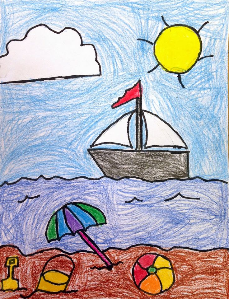 Art projects for kids ryan s seaside drawing easy summer Simple drawing ideas for kids