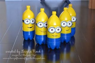 Minion Bowling easy DIY project made with recycled soda bottles