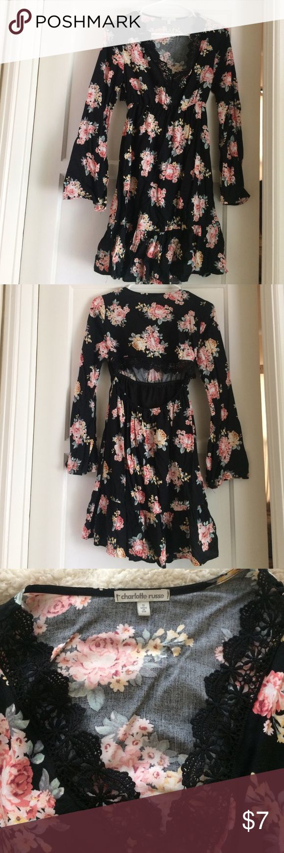 Charlotte Russe dress 👗 Wore once last month for a couple of hours, like new. Got it for 25+tax . Long flowy sleeves, low V, displays back but can be covered with jacket ❤️ Charlotte Russe Dresses Midi