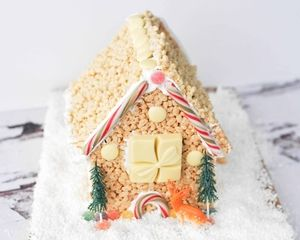This rice krispie house by Ren Behan is a cute, no bake take on classic gingerbread house. Kids will love it!