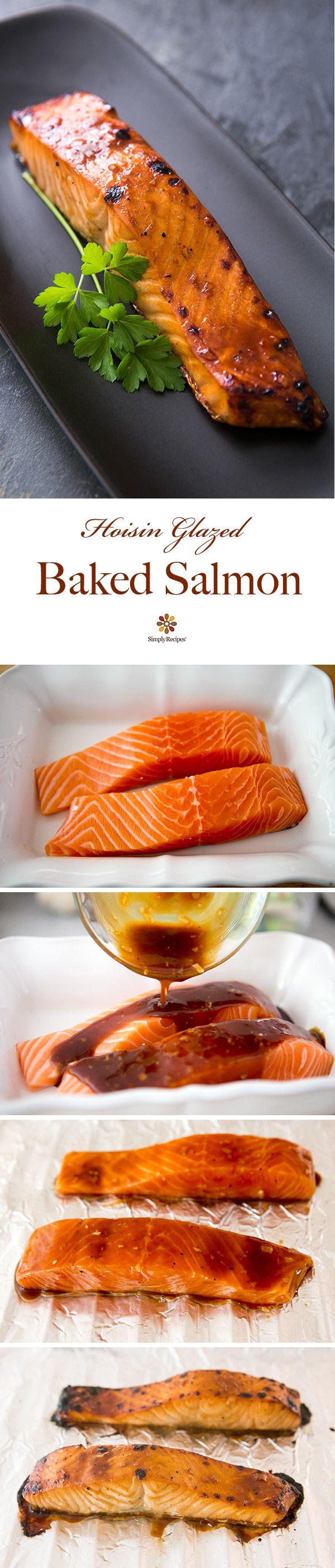 Hoisin Glazed Baked Salmon ~ Quick and easy broiled salmon fillets with a hoisin sauce glaze. ~ SimplyRecipes.com