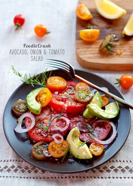 Tomato, onion, avocado salad. Looks yum!
