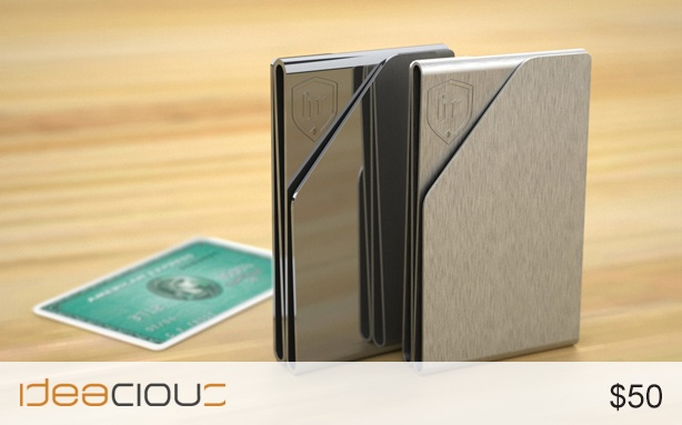 Slim by Human Republic | A money clip for those who like to travel light for the night, weekend, or in life.  Slim's intuitive design makes it easy to use and easy on the eyes. The outer two slots can fit two cards each, while the inner slot will secure your cash. $50. #moneyclip #cash #money #cards