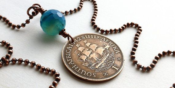 Coin necklace South African Nautical necklace Coin by CoinStories