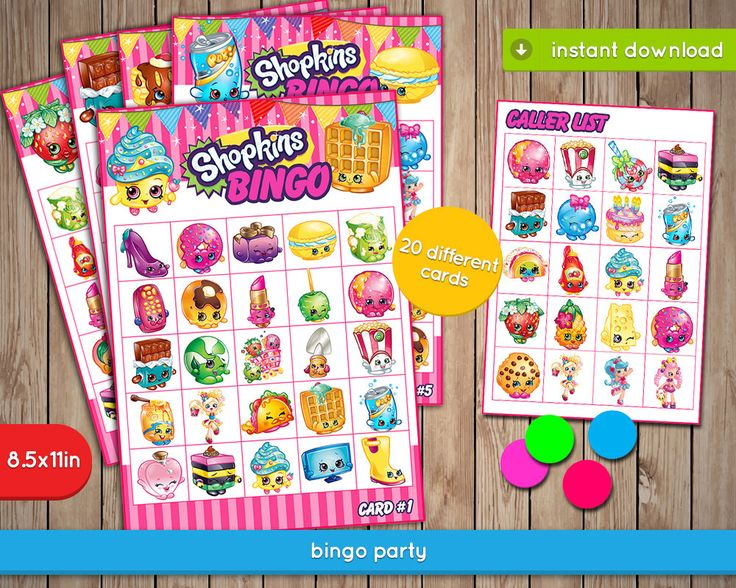 Shopkins Bingo Game - Printable birthday party games, activities - INSTANT PDF DOWNLOAD by PixPics on Etsy https://www.etsy.com/listing/450294396/shopkins-bingo-game-printable-birthday