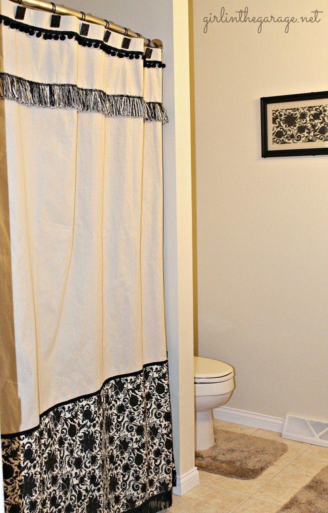 DIY drop cloth shower curtain made for a budget bathroom makeover I girlinthegarage.net