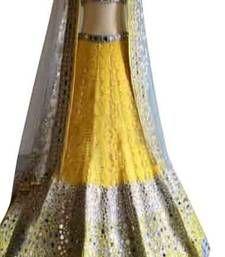 Buy Yellow net embroidered unstitched lehenga choli lehenga-choli online