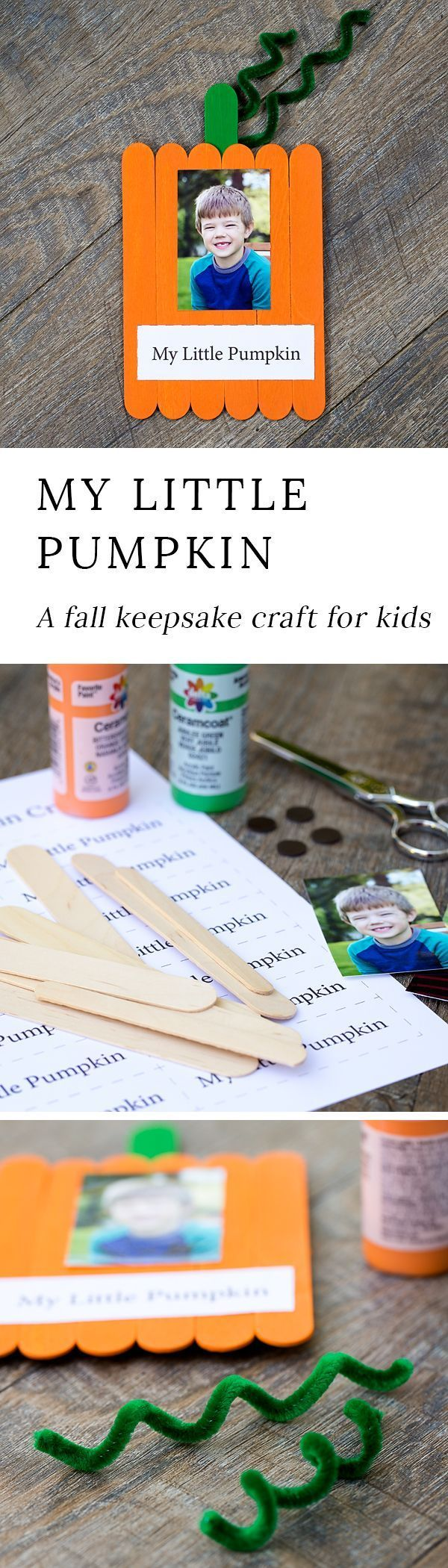 Just in time for fall, learn how to make an adorable My Little Pumpkin Keepsake Craft with craft sticks, paint, and glue.#fallcrafts via @https://www.pinterest.com/fireflymudpie/